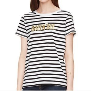 Kate Spade Broome Street Queen Bee Striped Tee S